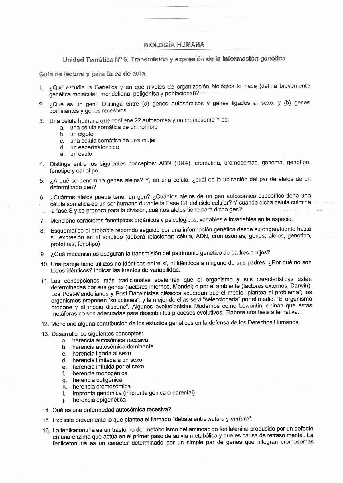 Modelo De Examen Preguntas Unidad 2 6 Y 7 Biologia Humana Psicologia Unr Filadd